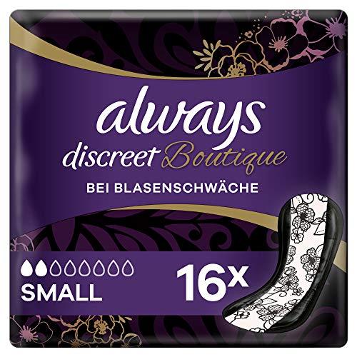 Always Discreet Boutique Inkontinenz-Einlagen Small (16 Stück) diskreter & sicherer Schutz im femininen Design bei leichter Blasenschwäche mit gelegentlichem Urinverlust, neutralisiert Gerüche