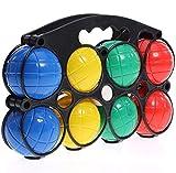 EUROXANTY Juego de Petanca | Set de Petanca para Jugar en Familia | hasta 4 Jugadores | Estuche de PVC | 2 Bolas de puntería | 6 Bolas de Colores | Ø 8 cm