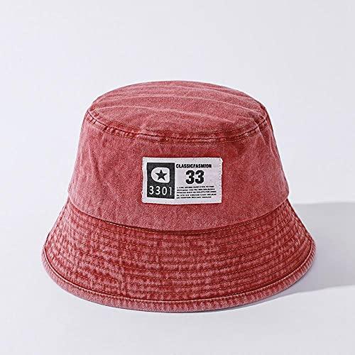 AOQW Pegatina De Tela Lavada Cubo De Mezclilla Hombres Sombrero De Mujer Primavera Verano Moda Pescador Sombrero De Moda Tazón De Pesca Gorra-Rojo