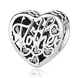 NINGAN 'I Love Mother(Io Amo Mamma) Charm in Argento Sterling 925, Compatibile con bracciali Europei e Compatibile con Braccialetti Europei (Madre Figlio)