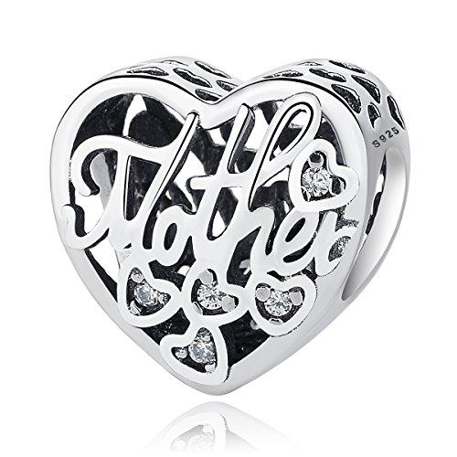 """NINGAN """"I Love Mother(Io Amo Mamma) Charm in Argento Sterling 925, Compatibile con bracciali Europei e Compatibile con Braccialetti Europei (Madre Figlio)"""