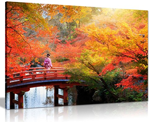 Japanese Autumn Leaves Trees Canvas Wall Art Picture Print (24X16) (Kitchen & Home)