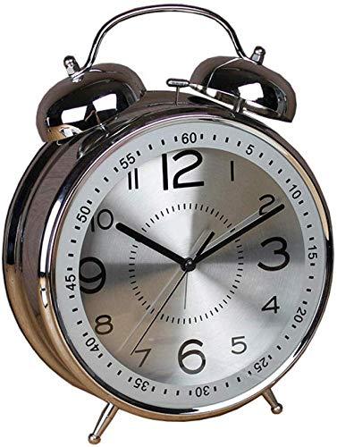 Een klok die de herinneringstijd kan instellen, Twin Bell Alarm Klok Batterij Bediend, Geen Ticking, geruisloos, Quartz Retro Bell Metal Enorme Alarm Klok 8 InchesB