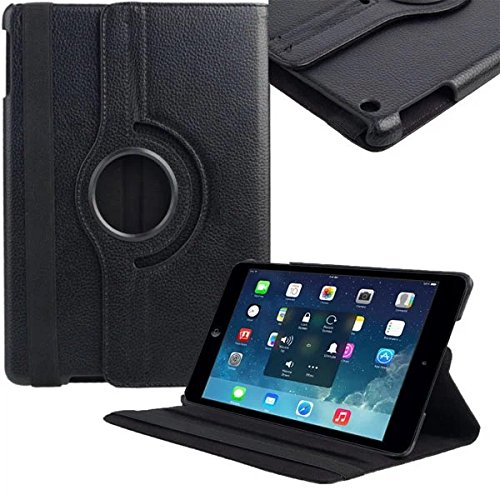 Beebiz Kinghousse-Custodia di Protezione con Supporto Verticale con Rotazione a 360°, in Pelle, per Apple iPad Air/iPad 5, Smart Cover Nero