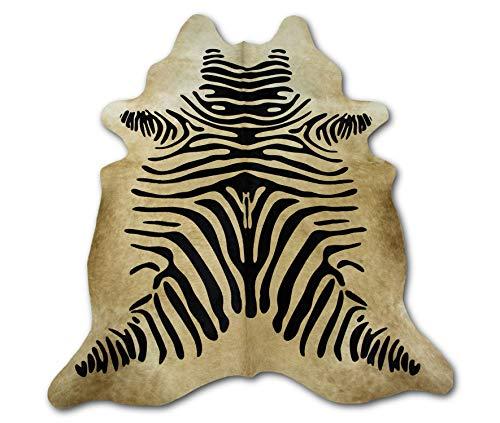 Zerimar Alfombra Piel de Vaca Natural Teñido Cebra | Medidas: 200x175 cm | Alfombra Salón | Alfombra Decoracion | Alfombra Dormitorio | Alfombra Natural