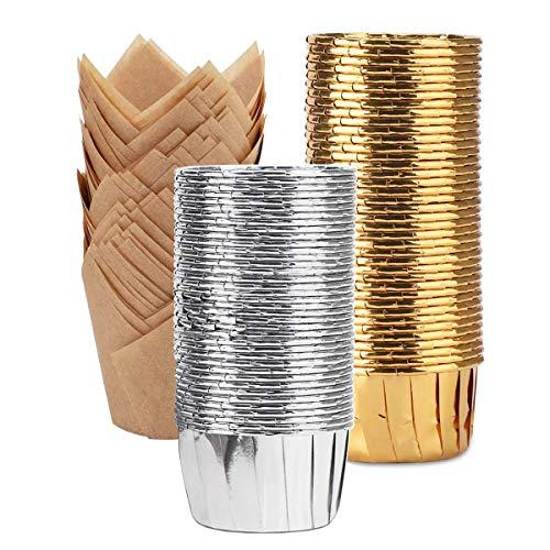 Zliger 100 Piezas Papel Aluminio Cupcakes & 50 Piezas Tazas Papel Magdalenas...