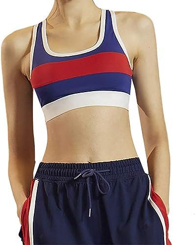 Maison parfaite Sous-vêteHommests de sport réunis pour femmes, soucravaten-gorge moulant de yoga de style gilet de style gilet de couleur contrastée avec absorption des chocs, avec coussinet de poitrine, nyl
