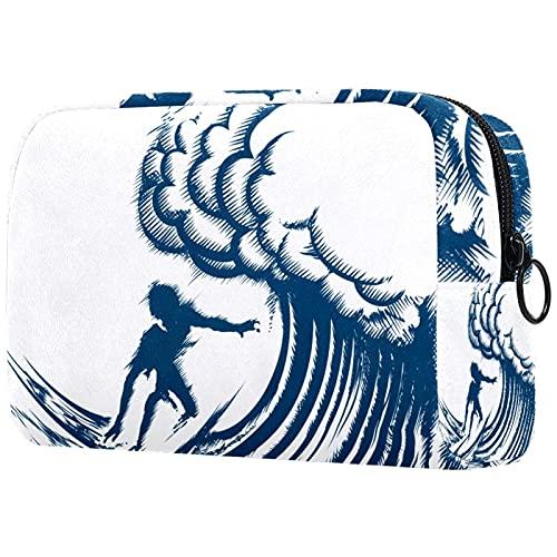 Borsa da trucco piccola uomo di surf Borsa da viaggio Borsa mini cosmetica da donna Portatile Beauty Case 18.5x7.5x13cm