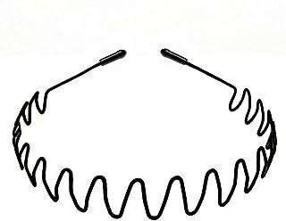 DAYONG Metal Hair Band-Unisex Black Simple Elastic Non Slip Men Women's Headband Hair Clips (Style 2)