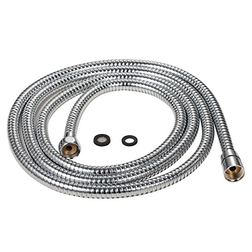 Purelux 100 Inch Extra Long Double Lock Stainless Steel Replacement Shower Hose with Brass Fittings, Chrome Finish, 5 YEAR WARRANTY by Purelux