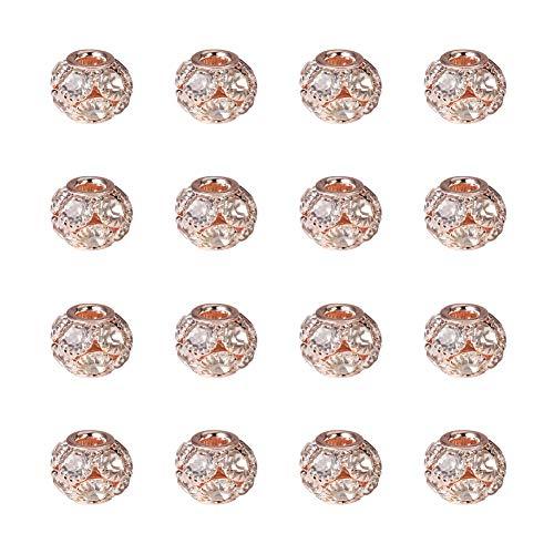 NBEADS - 30 Cuentas de Latón de Grado A de 12 mm para Pulsera, Diseño de Diamantes de Imitación, Oro Rosa