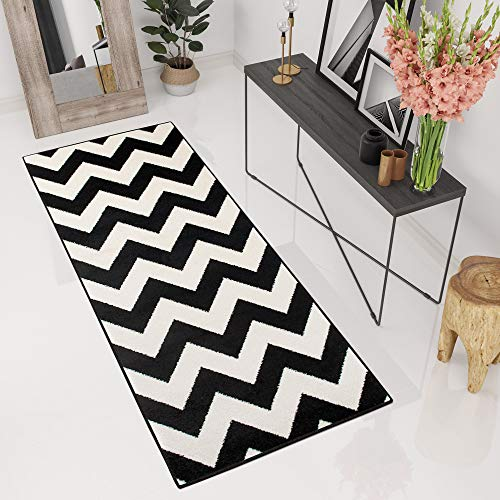 Tapiso Tapis De Couloir Passage Moderne - Couleur Noire Blanche - Motif Géométrique Treillis - Collection Marocaine 70 x 120 cm