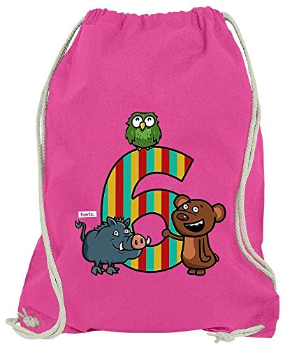 Hariz - Bolsa de deporte con diseño de osito, 6 cumpleaños divertido, tarjeta de regalo, color rosa, tamaño talla única