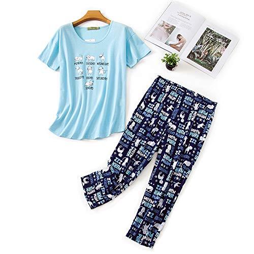 Damen Schlafanzug Zweiteiliger Pyjama Sommer Nachthemd Kurzärmeliges Hausanzug Baumwolle Sleepwear Nachtwäsche Oberteil und Hose Karikatur Katze für Damen Junges Mädchen