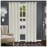 """Superior Shimmer Blackout Curtain Set of 2, Thermal Insulated Panel Pair with Grommet Top Header, Chic Metallic Embellished Room Darkening Drapes, Available in 4 Lengths - Ivory, 52"""" x 96"""" each"""