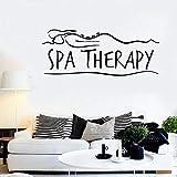 Terapia de spa pegatinas de pared masaje relax girl health calcomanías de vidrio de vinilo sala de spa decoración de interiores line art mural