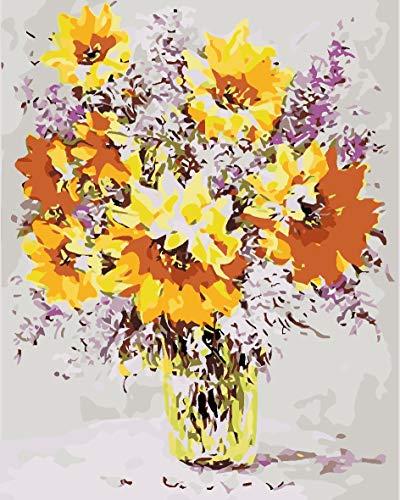 Olieverfschilderij om te knutselen, digitaal, voor kinderen, volwassenen, om te beschilderen, Home Decor, vaas of zonnebloem 50x65cm