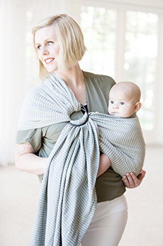 Moby Ring Sling | Versatile Support Wrap for Mothers, Fathers, and Caregivers | Baby Wrap and Carrier for Newborns, Infants, and Toddlers | Holder Can Carry Babies up to 33 lbs | Silver Streak
