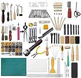 DIYARTS 366 Piezas Herramientas Artesanía de Cuero Herramientas de Estampado de Artesanía de Cuero con Herramientas de Tapete de Corte Kits de Remaches y Agujas Broches para Hacer Cuero
