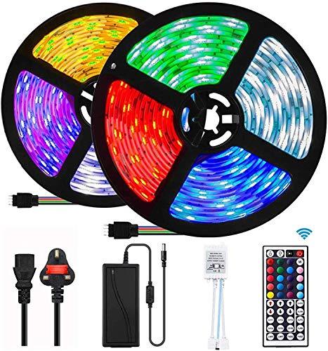 UTTORA 10M Tira LED, Tiras LED RGB 5050 12V con 300 LEDs, Iluminación de ambiente,Impermeable, Control Remoto de 44 Teclas para Decoración de Casa, Jardín, Fiesta, etc. (10M)