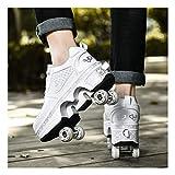 ZXSZX Zapatillas Rodillo Patinaje En Línea Zapatillas para Correr 2-IN-1 Zapatos Multiusos con Zapatos Patineta Shoe Boots Zapatos Patineta,White-41 EU
