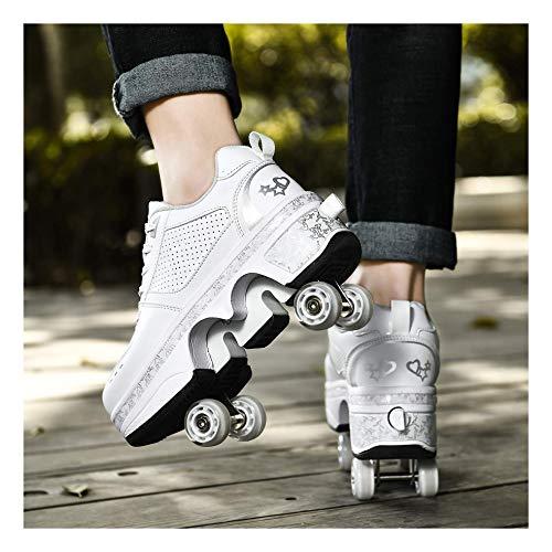 ZXSZX Rollschuh Skates Lauflernschuhe Sneakers 2in1 Mehrzweckschuhe Schuhe Mit Rollen Skateboardschuhe Inline Skate Verstellbare Quad Rollschuh Stiefel Skateboardschuhe,Weiß-37