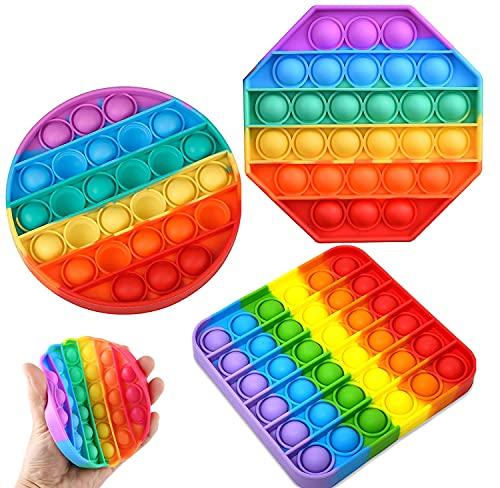 Nuyoah Push-Pop Pop Bubble Sensory Fidget Toy Silikon Sensorisches Zappeln Spielzeug 3 Stück, Stressabbau Angstabbau Spezielle Bedürfnisse Angstlinderung für Klassenzimmer