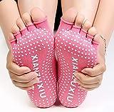 VisvimQ Damen Frühling und Herbst rutschfeste Yoga-Socken Fünf-Finger-Socken Zehensocken Massage Baumwolle Praxis Yoga