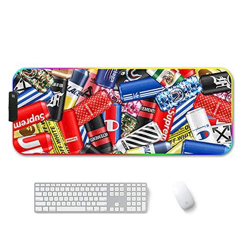 ZETIAN RGB stor musmatta vattentät bakgrundsbelyst overlock hopfällbart gummi hållbar LED stationär dator notebook dyna lampa med XXL-Soda_400 x 450 x 4 mm