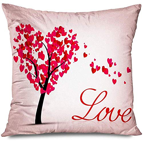 Aoyutiy decoratief kussenovertrek met Valentijnsgroet kunstwerken Lovely Heart Tree Valentijnsgeïsoleerd Love Paint Textures Holidays Drawing Zipper Pillowcase