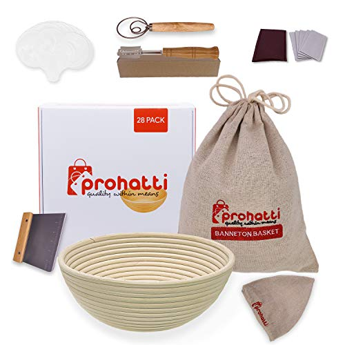 9 Inch Bread Proofing Basket 28 Pack Set includes, Banneton Proofing Basket, Linen Basket Liner & Bag, Bread Lame, Dough Scraper, Whisk Blender, 16x Stencils, 5x Blades & Gift Box by prohatti
