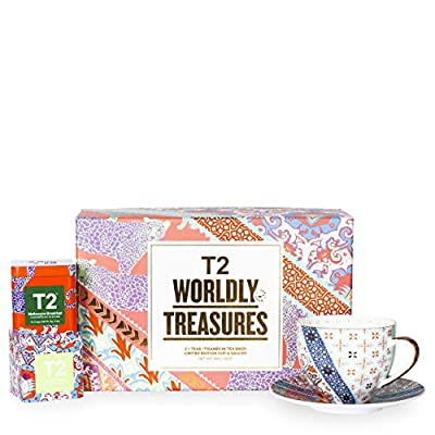T2 Tea- Tea and Teaware Giftpack: Wordly Treasure, Fine Bone China Cup and Saucer with 2 Mini Limited Edition Teabag Tins