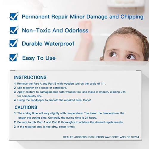 Tub, Tile and Shower Repair Kit - White | Fiberglass and Porcelain Repair | Shower