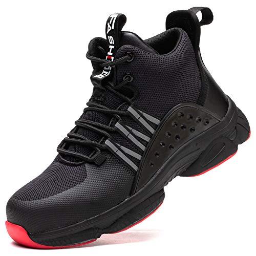 Dxyap Zapatos de Seguridad para Hombre Punta de Acero Zapatos Ligero Zapatos de Trabajo Respirable Construcción Zapatos Botas de Seguridad,Negro,42EU