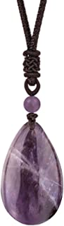 Natural Gemstone Drop Pendant Necklace Healing Stone Crystal Chakra Protection Rock Cord Jewelry