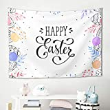 Gamoii Frohe Pascua Multicolor Huevos pared colgador toalla de pared papel pintado pícnic manta toalla de playa Yoga Esterilla Multicolored Cama Casa Manta Beach Tapestry, poliéster, blanco, 230x150cm