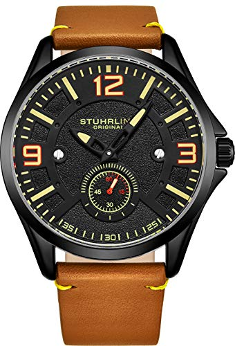Stuhrling Original Mens Leather Watch -Aviation Watch, Quick-Set Day-Date, Leather Band with Steel Rivets, Men Watch Collection (Tan Black)