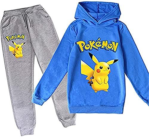 WOEMANE Pokémon Pikachu - Sudadera con capucha y pantalón para niños, juego de dos piezas, A7., 100 cm