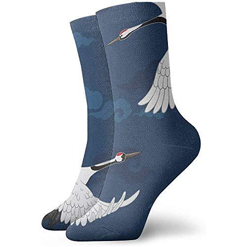 Joy Edward Grúas japonesas tradicionales Grúas Calcetines de moda Calcetines suaves para mujeres/hombres Calcetines deportivos