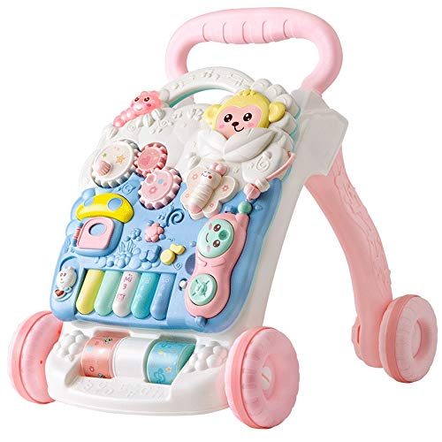 Lihgfw 2 in 1 Push The Walker Toy 6-18 Monate Multi-Funktions-Walker Acht Monate Baby Puzzle Baby-Male Blue/Pink (Color : Rosa)