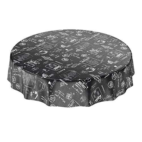 ANRO Mantel de Hule para Mesa (Lavable, diseño Moderno, Retro, 140 cm), Color Negro, Toalla, Rund 140cm