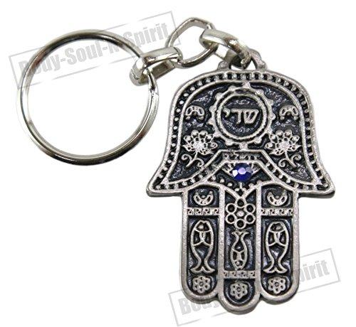 Llavero Sha-dai & Jamsa con plegaria del viajero amuleto de la suerte de Israel
