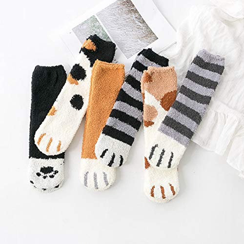 Saniswink Winter Fluffy Fuzzy Warm Slipper Socken Cute Meow Cat Paws Print Strumpfwaren, Cartoon Frauen Herbst Winter Katzen Paws Coral Fleece Homewear Warme Fußbodensocken Schwarzgrau