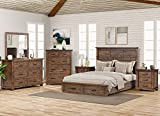 LZ LEISURE ZONE Bedroom Sets, 6 Pieces Bedroom Sets with Queen Size Bed, 2 Night Stands, Dresser, Mirror and Chest. Rustic Reclaimed Solid Wood Framhouse Bed Room Set (6 PC Set)