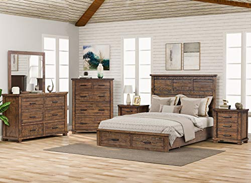 SOFTSEA Farmhouse Style 6 Piece Queen Bedroom Furniture Set, Include Solid Pine Wood Storage Bed, 2 Nightstands, 6-Drawer Dresser and 5-Drawer Chest and Mirror, Rustic Reclaimed Bedroom Furniture Set