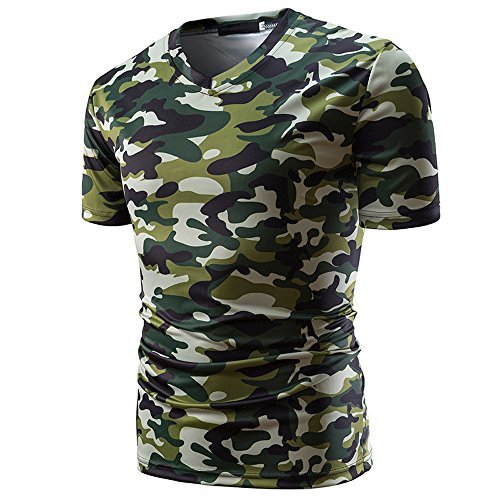 iLOOSKR T-Shirt Top Men's Camouflage Print V Neck Pullover Short Casual Tees Blouse(Green,XL)
