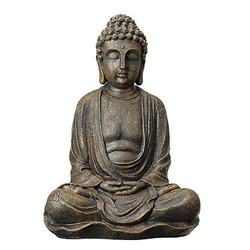 YOUZE Shakya Mani Buddha Statue Skulptur Gold/Silber Meditieren Antike Wohnkultur Ornament Feng Shui Buddha Statue, Altes Kupfer