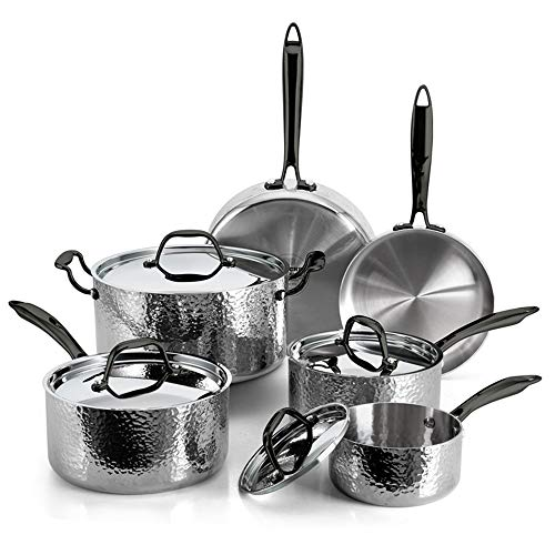 Fleischer & Wolf Stainless Steel Set Pots and Pans Induction Cookware Set 10pcs Oven and Grill Kitchen Dishwasher Safe (Silver)