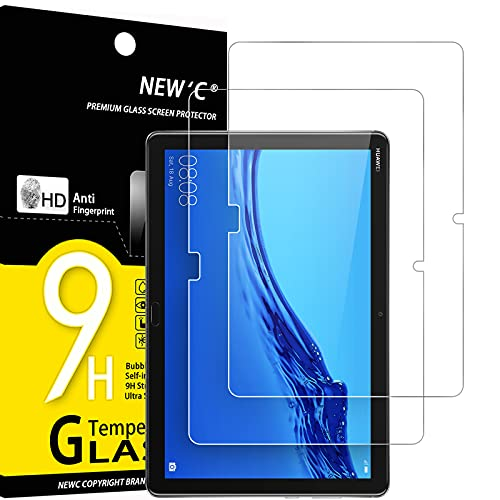 NEW'C 2 Unidades, Protector de Pantalla para Tablet Huawei MediaPad M5 Lite (10,1'), Antiarañazos, Antihuellas, Sin Burbujas, Dureza 9H, 0.33 mm Ultra Transparente, Vidrio Templado Ultra Resistente