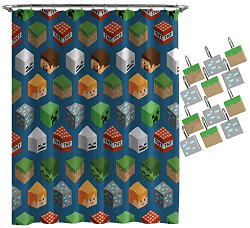 Jay Franco Minecraft Isometric Characters Shower Curtain & 12-Piece Hook Set & Easy Use (Official...